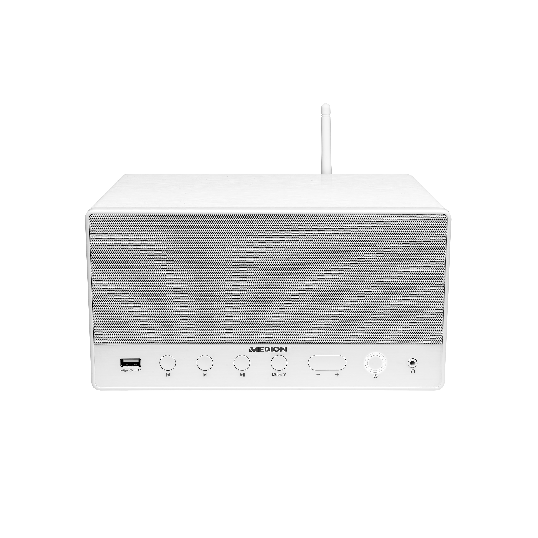 MEDION® LIFE® P61071 Multiroom Lautsprecher mit WLAN, Spotify® Connect kompatibel, DLNA, USB Ladeanschluss, AUX, 2 x 7 W + 15 W RMS