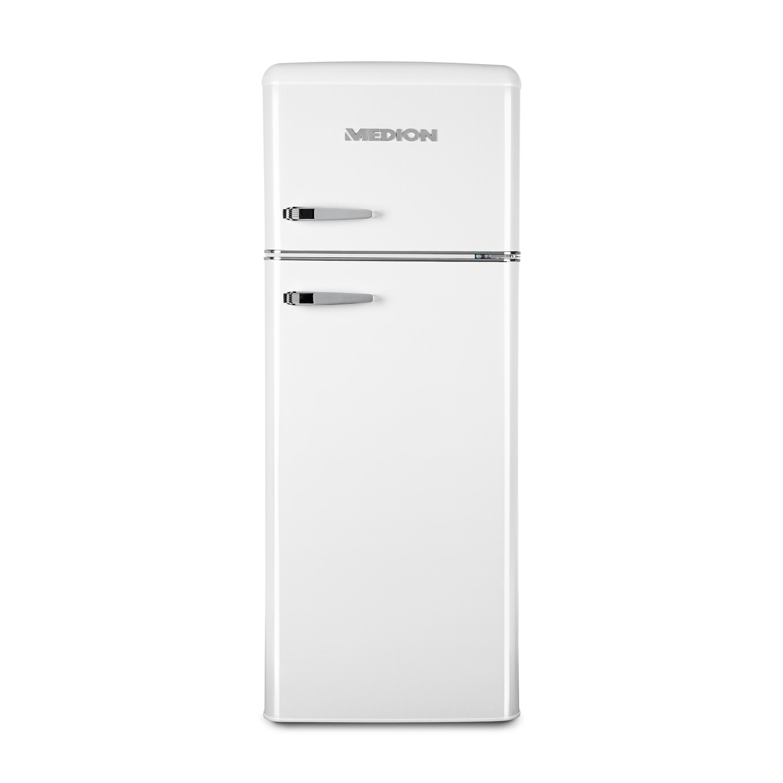 MEDION® Kühl-Gefrierkombination MD 37258, Retro-Design, 208 L Nutzinhalt (164 L Kühlteil & 44 L Gefrierteil), 4-Sterne-Gefrierfach