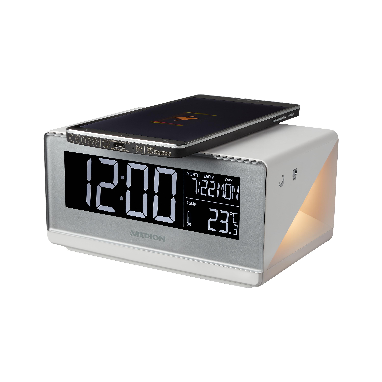 MEDION® LIFE® E75009 Weckstation, LC-Display, kabellose Ladefunktion für Smartphones, Touchbedienung, Nachtlicht, Innenraum-Temperaturanzeige
