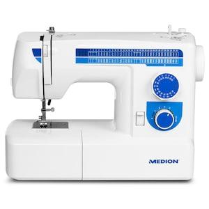 MEDION® Freiarmnähmaschine MD 17187, 65 verschiedene Stichmuster, unkomplizierter Nähfußwechsel, LED-Nählicht, umfangreiches Zubehör