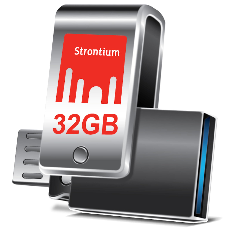 WENTRONIC Strontium® Nitro Plus OTG USB 3.0 Stick, 32 GB, High-Speed Flash-Laufwerk, Bis zu 130 MB/s, Kompaktes und robustes Metallgehäuse