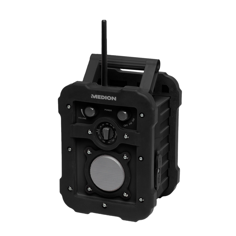 MEDION® LIFE® E66172 Baustellenradio, UKW/MW Radio, Stabantenne, batteriebetrieben, IP44 Schutz, AUX, 2 W RMS