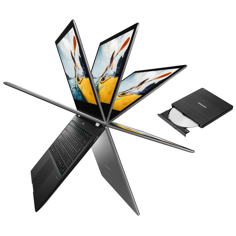 MEDION® AKOYA® E3221, Intel® Celeron® N4000, Windows10HomeimSModus, 33,7 cm (13,3) FHD Touch-Display, 64 GB Flash, 360° Modus, Convertible + Gratis Laufwerk