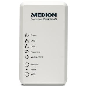 MEDION® MEDION® LIFE® P85149 Powerline WLAN Adapter zur Datenübertragung via Stromnetz, Verbindungsgeschwindigkeit bis zu 500 MBit/s, weiß