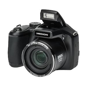 """MEDION® LIFE® X44027 16.0 MP Superzoom-Kamera, 7,62 cm / 3,0"""" LC-Display, 26-fach optischer Zoom, 5-fach digitaler Zoom, mechanischer Bildstabilisator, Ausklappbarer Blitz, Geischtserkennung"""