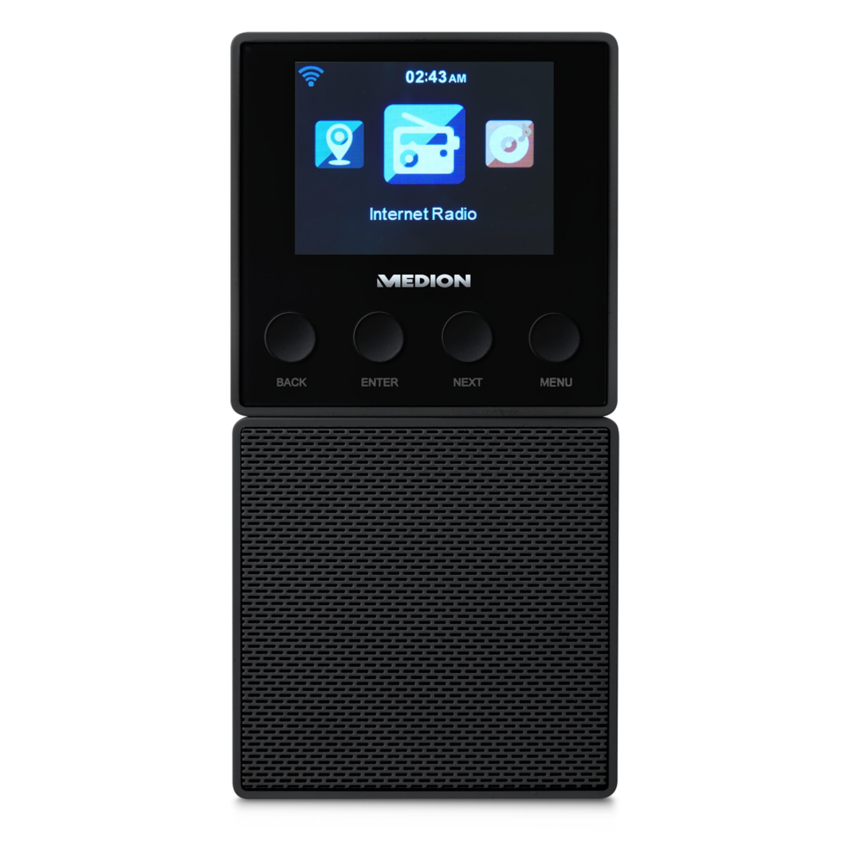 MEDION® E85032 Steckdosen Internetradio, 6,1 cm (2,4'') TFT-Farbdisplay, Steuerung per App, DLNA-/UPnP kompatibel, WLAN und Bluetooth-Funktion