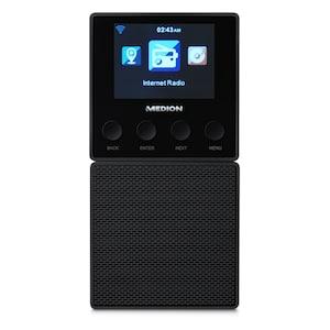 MEDION® E85032 Steckdosen Internetradio, 6,1 cm (2,4) TFT Farbdisplay, Steuerung per App, DLNA/UPnP kompatibel, WLAN und Bluetooth-Funktion