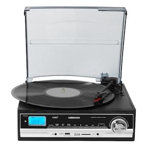 MEDION® LIFE® E69216 Schallplatten- und Kassettendigitalisierer, 2 x 1,5 Watt RMS, LC-Display, Encoding ohne PC, Riemenantrieb, 3 Drehgeschwindigkeiten, Speicher für 99 MP3-Tracks, Auto Stopp