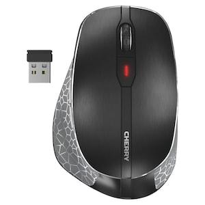 CHERRY MW 8 ERGO uiterst nauwkeurige muis, laser-LED, verbinding naar keuze via Bluetooth® of 2,4 GHz-radio, resolutie op 4 niveaus, elegant design