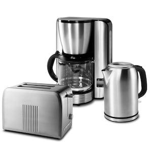 MEDION® Edelstahl Frühstücksset mit Kaffeemaschine MD 16230, Wasserkocher MD 16231 & Doppelschlitz-Toaster MD 16232