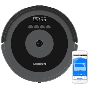 MEDION® Saugroboter MD 17225, mit intelligenter Lasernavigation, bequeme Steuerung per Smartphone und Tablet, zeitgesteuerte Reinigung, Tierhaar- und Allergikergeeignet