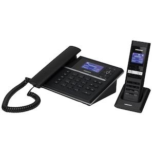 MEDION® LIFE® S63088 Design Telefon mit Slim Mobilteil, Mobilteil ECO Funktion, SMS Funktion, integrierter digitaler Anrufbeantworter, schwarz
