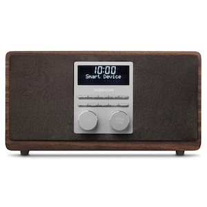MEDION® LIFE® P66072 DAB+ Radio mit Bluetooth-Funktion, Aluminiumfront, Bluetooth, digitale Radiosender, kraftvolle 15 Watt RMS