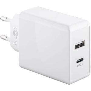 WENTRONIC Schnellladegerät Dual USB-C™ mit Power Delivery, lädt bis zu zwei Geräte gleichzeitig