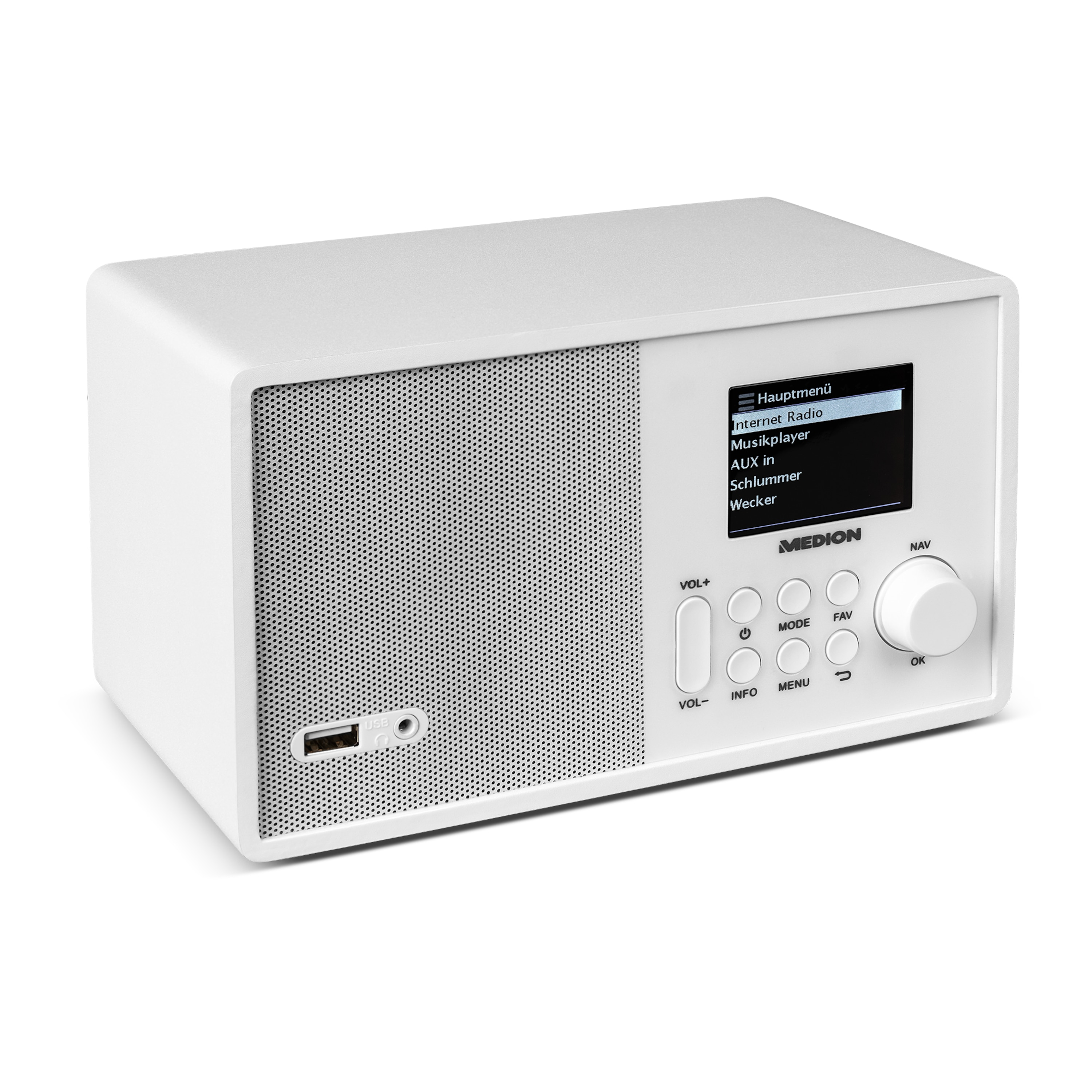 MEDION® E85040 WLAN-Internetradio, Solides Holzgehäuse, 6,1 cm (2,4) TFT-Display, DLNA/UPnP, FM/UKW, LAN, USB 2.0, AUX, 1 x 10 W RMS