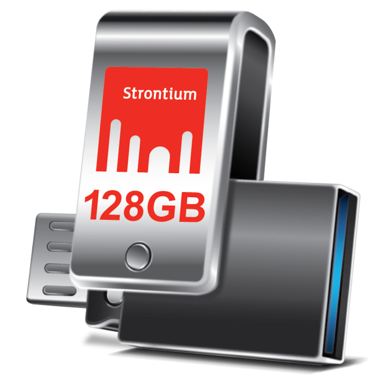 WENTRONIC Nitro Plus OTG USB 3.0 Stick, 128 GB, High-Speed Flash-Laufwerk, Bis zu 130 MB/s, Kompaktes und robustes Metallgehäuse