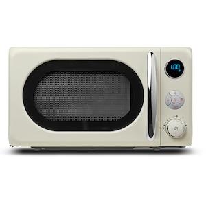 MEDION® Mikrowelle MD 18028, 800 Watt, Grillfunktion 1.000 Watt, 20 l Garraum, 8 Automatikprogrammen, LED-Display, stilvolles Retro-Design