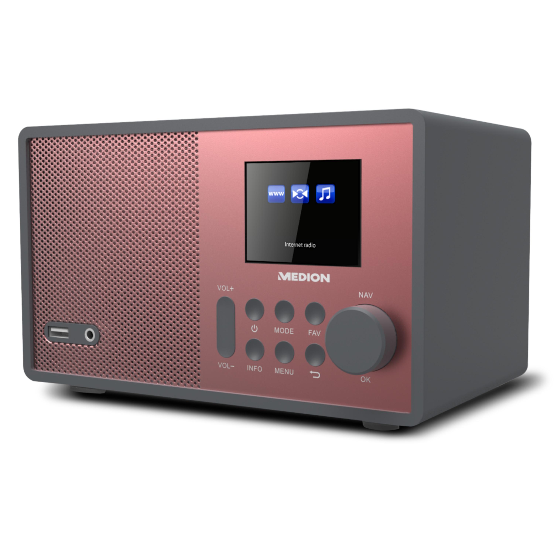 MEDION® E85059 WLAN Internet-Radio, Solides Holzgehäuse, 6,1 cm/2,4 TFT-Display, DLNA/UPNP, USB 2.0, AUX, 1 x 10 W RMS