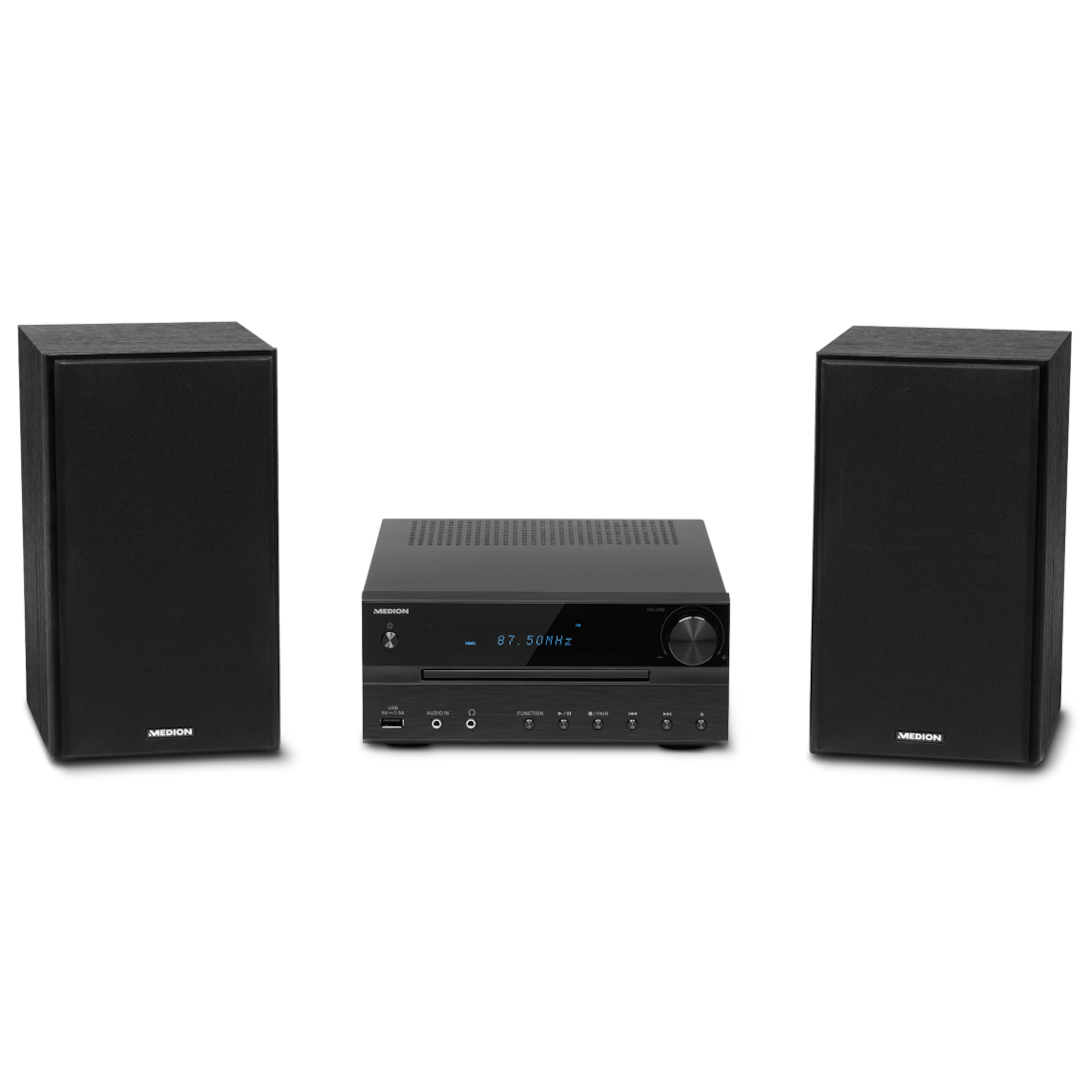 MEDION® LIFE® P64262 Micro-Audio-System mit CD-Player, DAB+, Bluetooth 3.0, USB-Anschluss & -Ladefunktion, AUX-Anschluss, PLL-UKW-Stereo-Radio, 2 x 15 W RMS