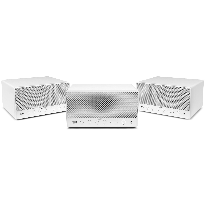 MEDION® Sparpaket - 3 x MEDION® LIFE® P61071 Multiroom Lautsprecher mit WLAN, Spotify Connect kompatibel, DLNA, USB Ladeanschluss, AUX-In, 2 x 7 Watt + 15 Watt RMS