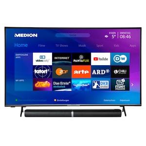 MEDION® LIFE® X14351 108 cm (43'') Ultra HD Smart-TV + P61202 TV-Soundbar mit Bluetooth® - ARTIKELSET