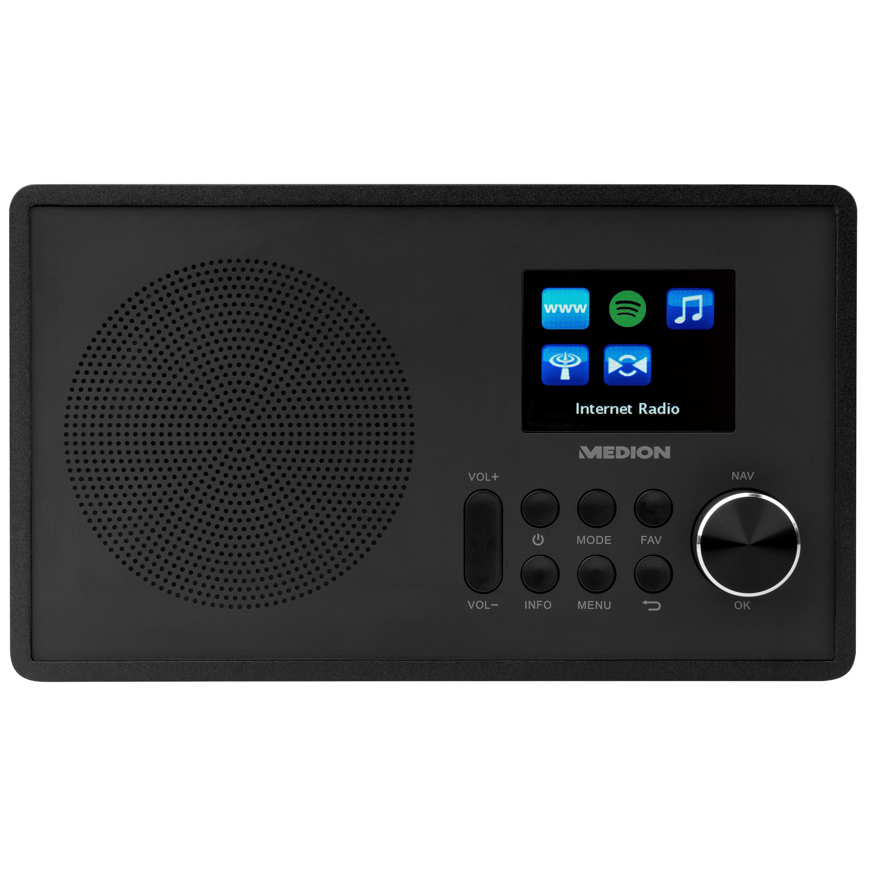 MEDION® LIFE® E85080 WLAN Internet-Radio, farbiges 6,1 cm (2,4'') TFT Display, Empfang von über 15.000 Internetradiosendern, WLAN, DLNA, Spotify®-Connect, 1 x 10 W RMS