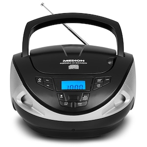 MEDION® LIFE® E65157 CD Radio Boombox, Radio-/CD-/Wiedergabe, LC-Display, CD-R/CD-RW kompatibel, AUX-Eingang, 2 x 1 Watt RMS