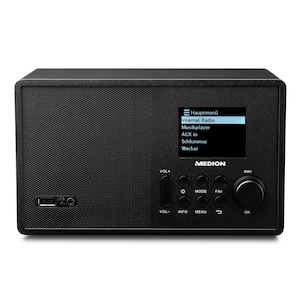 MEDION® E85040 WLAN Internet-Radio, Solides Holzgehäuse, 6,1 cm/2,4 TFT-Display, DLNA/UPNP, FM/UKW, LAN, USB 2.0, AUX, 1 x 10 W RMS