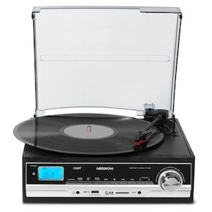 MEDION® E69216 Schallplatten- und Kassettendigitalisierer, Direkte MP3-Umwandlung, MP3-Player, Riemenantrieb, Auto Stopp, schwarz