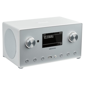 MEDION® LIFE® P85166 Stereo Internetradio, 8,9 cm (3,5'') Monochrom-Display, DAB+/UKW-Empfänger, Spotify®-Connect, WLAN, DLNA, USB 2.0-Anschluss, 2 x 7,5 W RMS