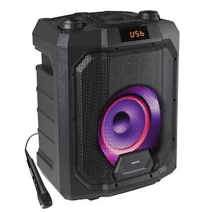MEDION® LIFE® P61988 Trolley Partylautsprecher mit Bluetooth®, LED-Display, Karaoke Funktion, Bass Boost, farbige LED-Lichter, ausziehbarer Teleskopgriff & Rollen, integr. Akku