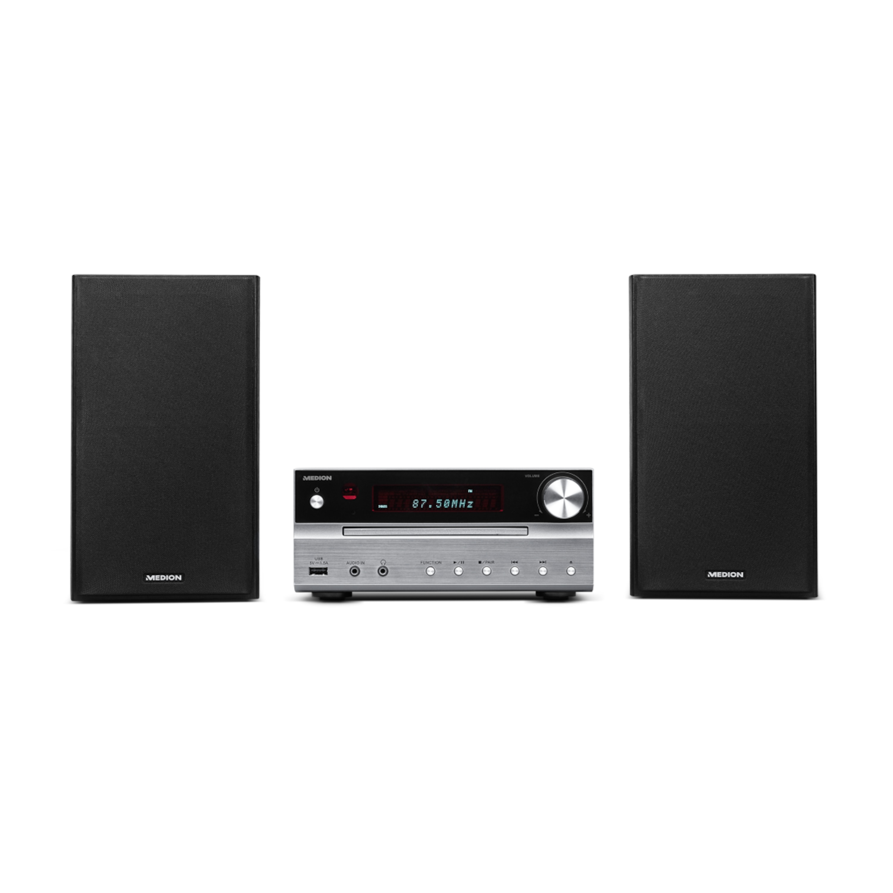 MEDION® LIFE® P66063, Mikro Audio System, Bluetooth 4.0, PLL UKW Stereo Radio, 2 x 15 W RMS, X-Bass-Bassanhebung