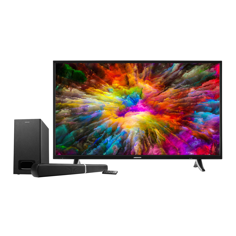 MEDION® LIFE® X14020 Smart TV, 101,6,cm (40'') Ultra HD, HDR, PVR ready, Netflix, Bluetooth®, DTS HD, HD Triple Tuner, CI+, inkl. 2.1 TV Soundbar E64126