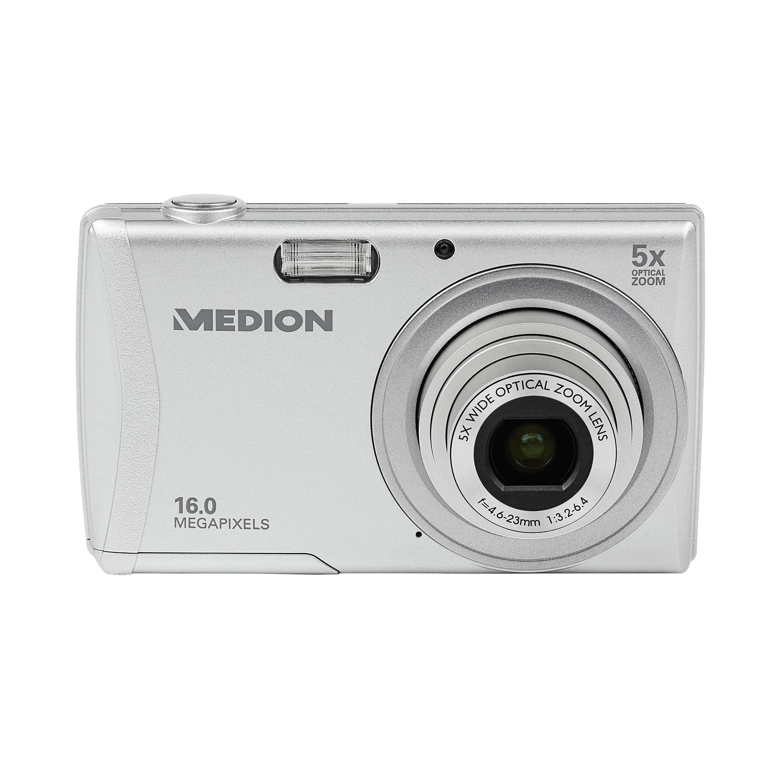 MEDION® LIFE® E44050 16.0 MP Digitalkamera, Großes 6,86 cm/2,7 LC-Display, 5-fach optischer Zoom, 26 mm Weitwinkel, Motivautomatik, Lächelerkennung