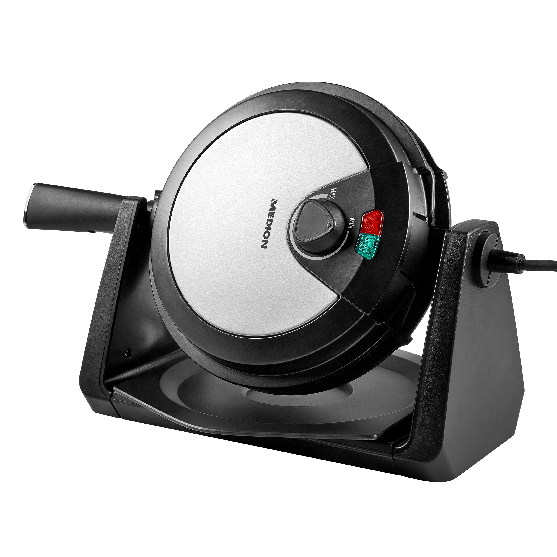 MEDION® Drehbares Waffeleisen MD 18360, ideale Teigverteilung, farbige Temperaturanzeige, 1000W Leistung, Antihaftbeschichtung
