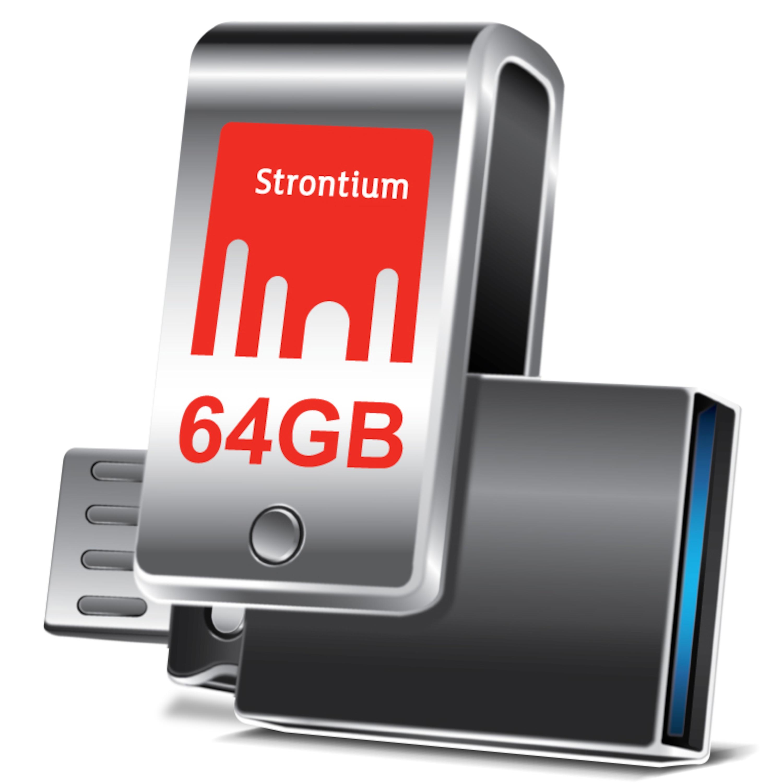 WENTRONIC Nitro Plus OTG USB 3.0 Stick, 64 GB, High-Speed Flash-Laufwerk, Bis zu 130 MB/s, Kompaktes und robustes Metallgehäuse
