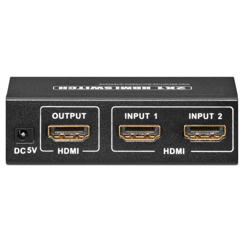 WENTRONIC HDMI™ Umschaltbox zum Anschluss von bis zu 2 Geräten an z.B. 1 Fernsehgerät