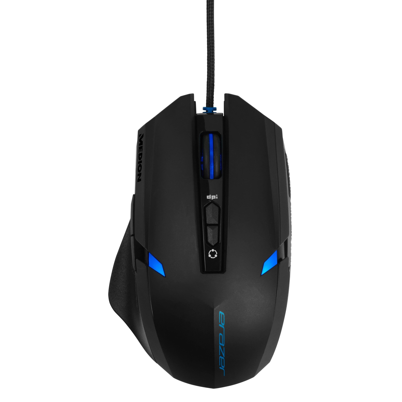 ERAZER® X81026 Gaming Maus, schneller optischer Sensor, ergonomisch, Auflösung: 1000/1300/1600/2400 dpi, OMRON Maustasten, 7 Tasten
