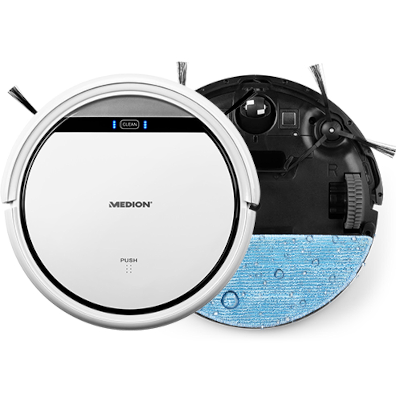 MEDION® Saugroboter mit Wischfunktion MD 18501, zur Reinigung von Staub, Haaren & Pollen, mit Programmierfunktion, 90 Min. Laufzeit & automatischer Aufladung