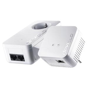 DEVOLO dLAN 550 duo+ & 550 WiFi | Easy Home WiFi Starter Kit | geïntegreerd stopcontact aan de voorzijde | WiFi Move-technologie | compact design