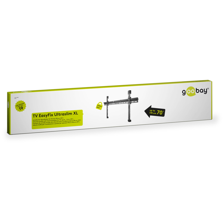 WENTRONIC Wandhalterung EasyFix UltraSlim XL 37 - 70 (94-178 cm), Ultraflache TV Wandhalterung, max. Traglast 65 kg