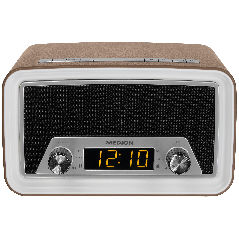 MEDION® LIFE® E66333 Retro Uhrenradio mit Bluetooth Funktion, AUX Eingang, 40 Watt (4 Watt RMS) (B-Ware)