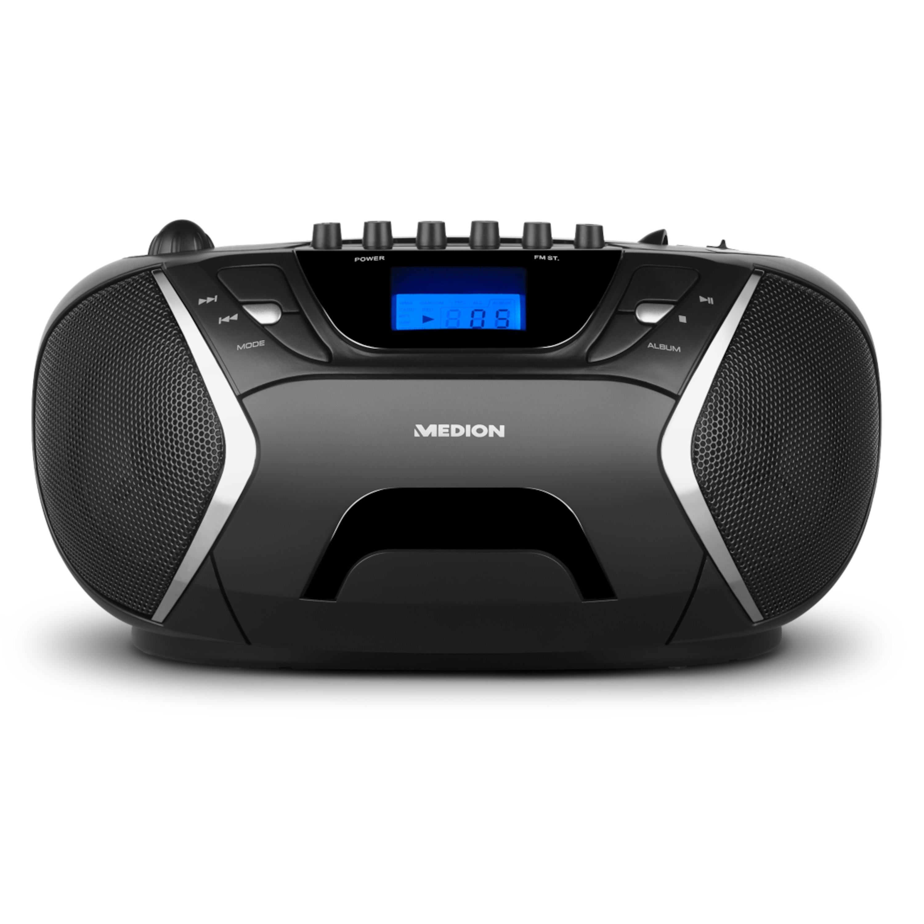 MEDION® LIFE® E65073, Stereo Sound System, Top-Loading CD / MP3-Wiedergabe, AUX, 2 x 10 W, Kassettendeck, Tuner