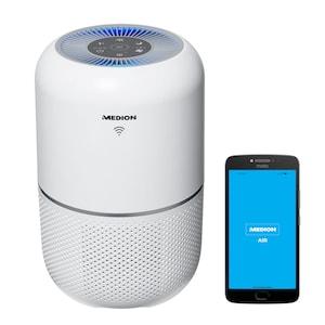MEDION® Slimme luchtreiniger MD 19878 | vermindert aërosolconcentraties | app- en spraakbediening | HEPA-filter | UV-licht | weergave luchtkwaliteit | timerfunctie | 35 Watt