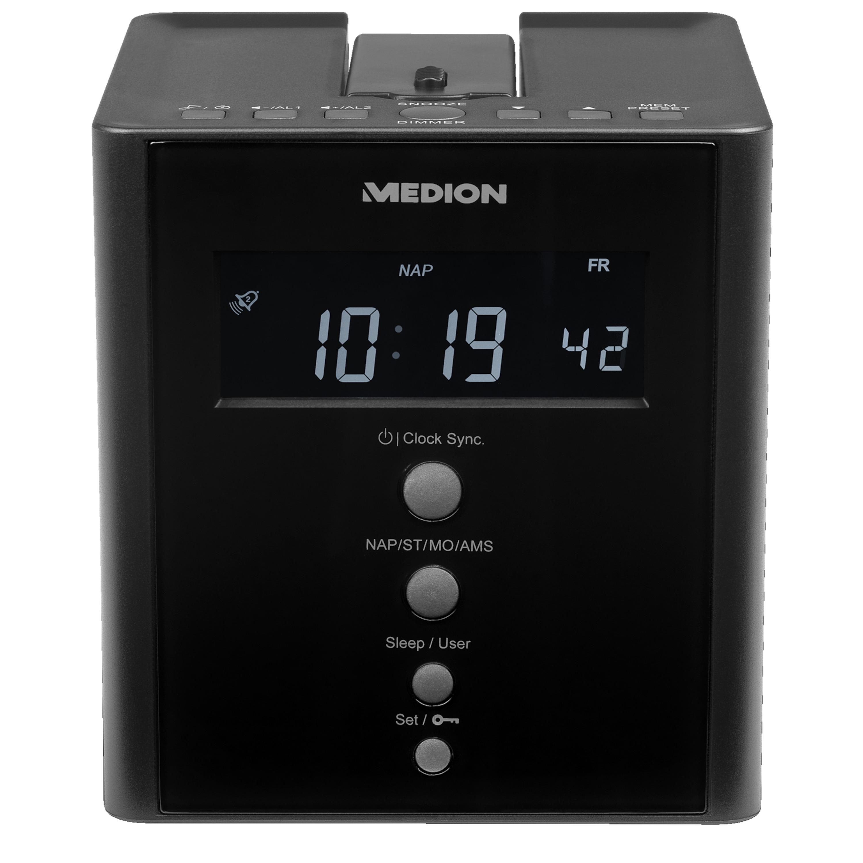 Günstig Kaufen beim Preisvergleich-MEDION LIFE® E66395 Projektions Uhrenradio, Projektion der Uhrzeit auf Wände oder Decken, PLL-UKW Radio, automatische Zeiteinstellung (RDS) PLL-UKW Radio,  LC-Display mit Hintergrundbeleuchtung,  Projektion der Uhrzeit auf Wände oder Decken,  40 Sen