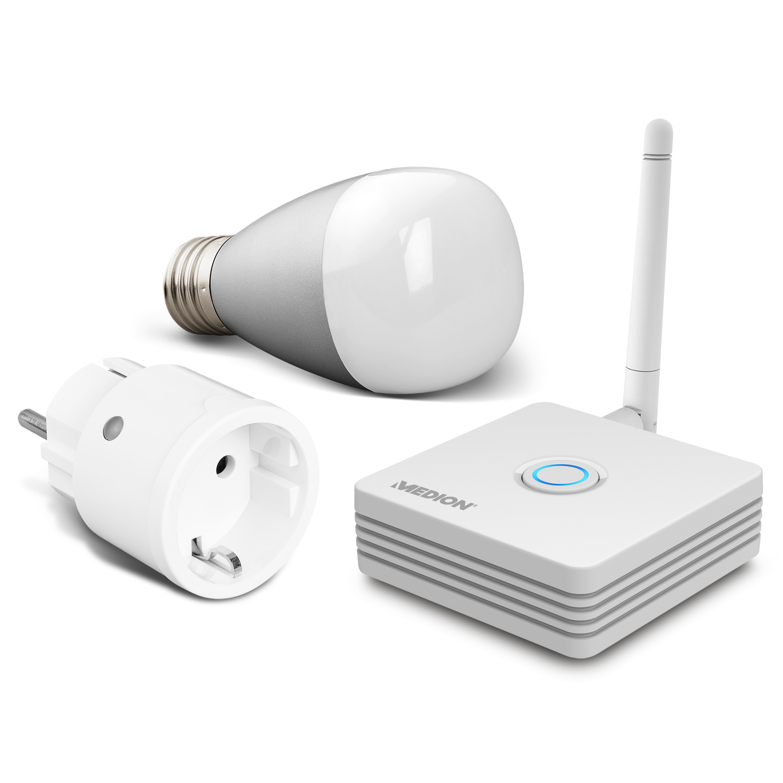 MEDION® Smart Home Sparpaket - Inklusive Smart Home Zentrale P85701, 1x RGB LED Leuchte P85716, 1x Zwischenstecker P85702