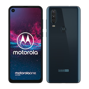 MOTOROLA One Action Smartphone, 16 cm (6,3'') Full HD+ Display, Android™ 9, 128 GB Speicher, Octa-Core-Prozessor, Dual-SIM, LTE, denim blau