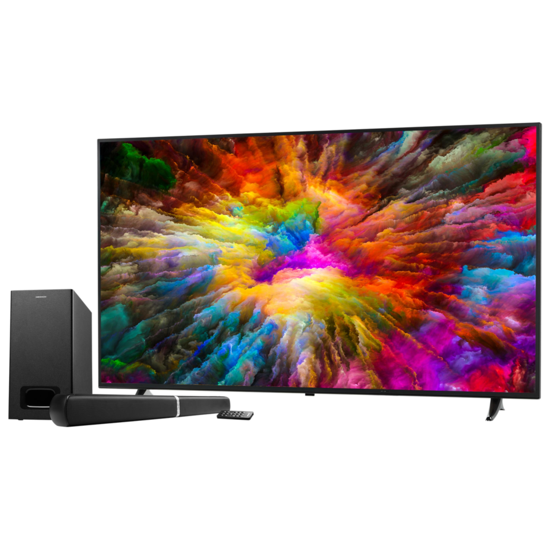 MEDION® LIFE® X16513 Smart TV, 163,8cm (65'') Ultra HD Smart-TV, HDR, PVR ready, Netflix, Bluetooth®, DTS HD, HD Triple Tuner, CI+, inkl. 2.1 TV Soundbar E64126