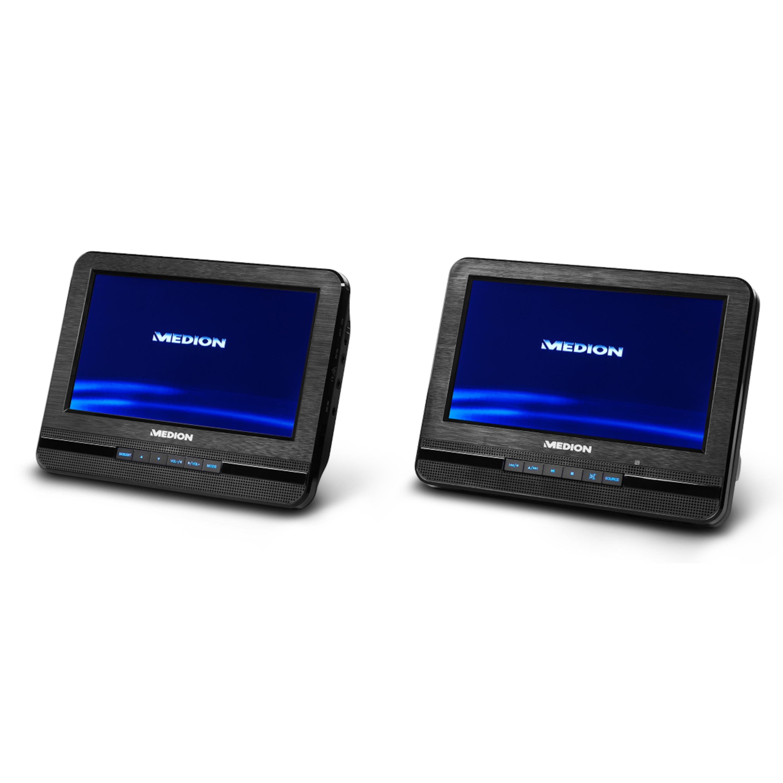 MEDION® Portabler DVD-Player mit zwei digitalen 17,7 cm/7 Displays, 2 x 2 Watt RMS, 7 Soundvoreinstellungen, Hintergrundbeleuchtete Tasten (B-Ware)