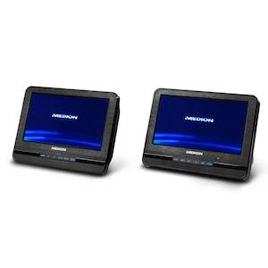 """MEDION® Portabler DVD-Player mit zwei digitalen 17,7 cm/7"""" Displays, 2 x 2 Watt RMS, 7 Soundvoreinstellungen, Hintergrundbeleuchtete Tasten"""